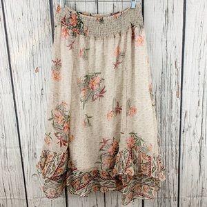 Style & Co Petite Flutter Hem Floral Maxi Skirt